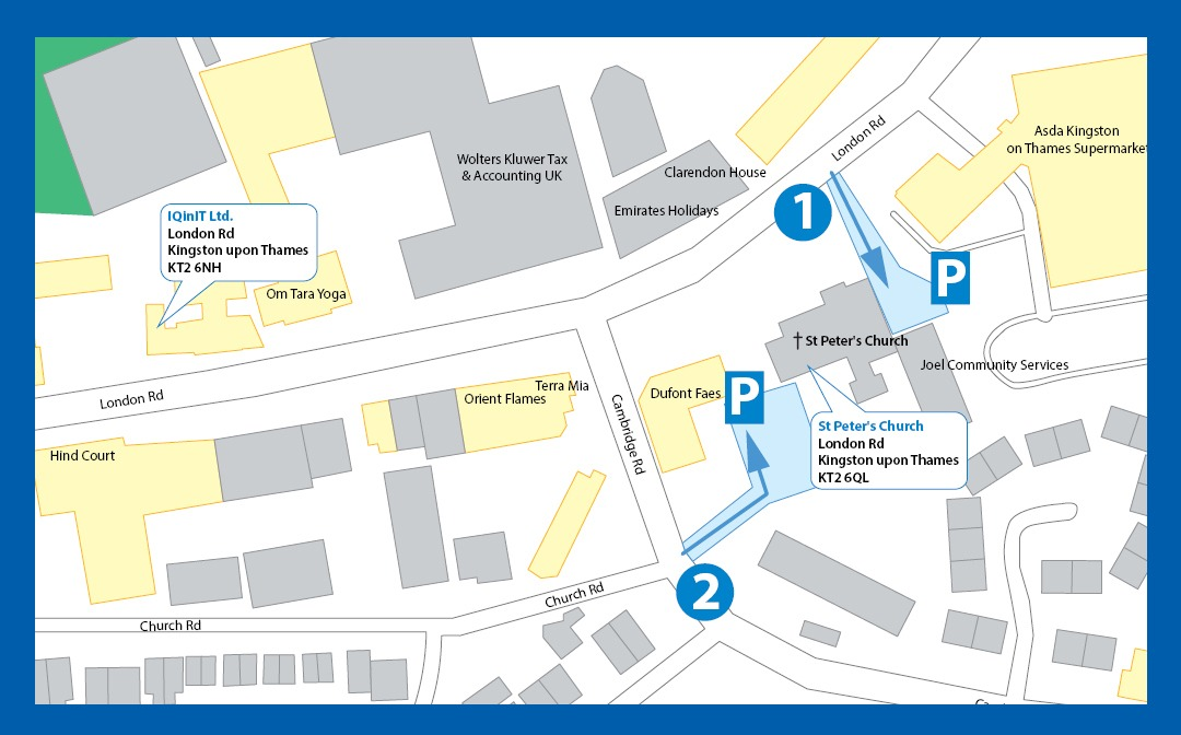 St Peter's Church car parking spaces on map
