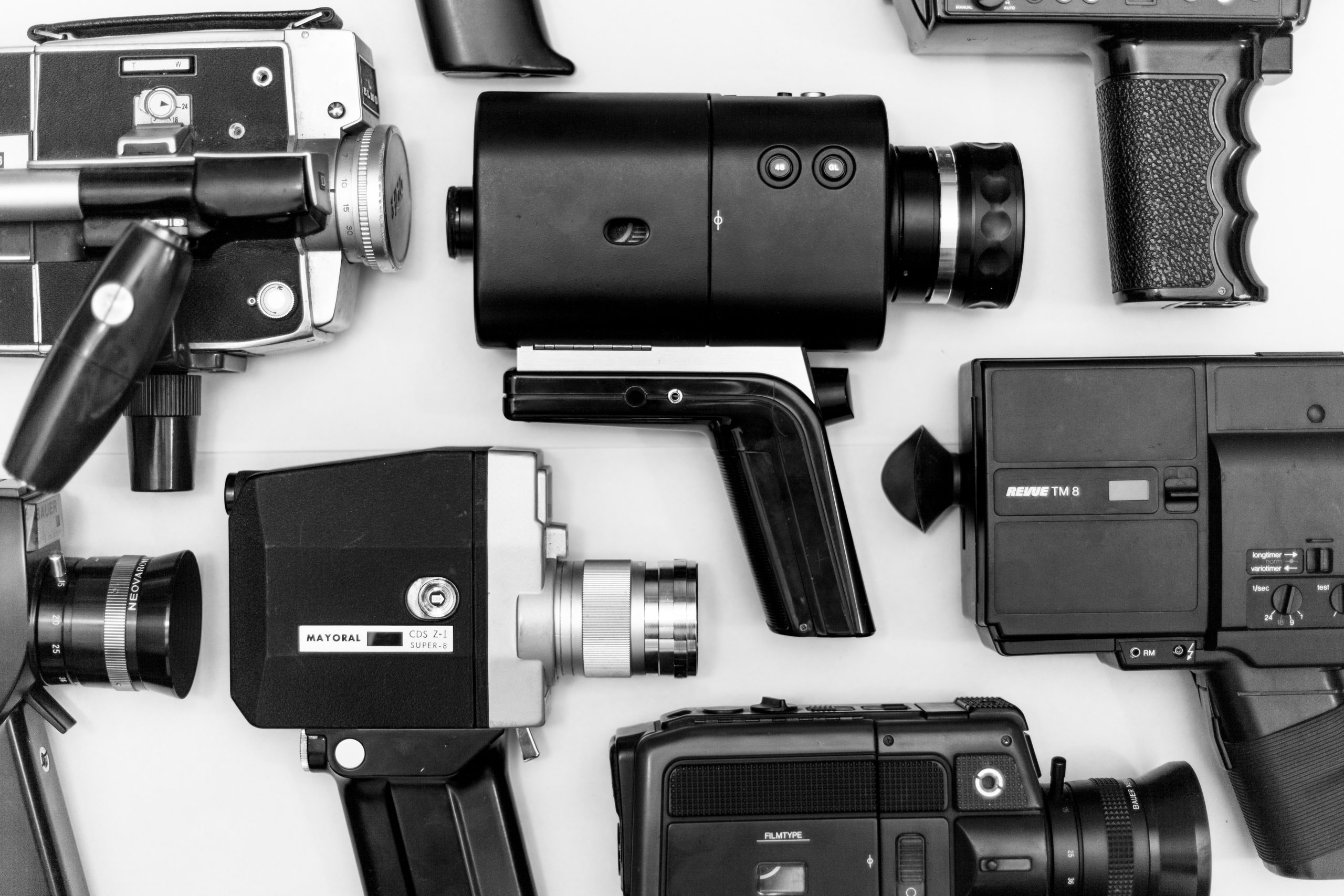 Lots of cameras in black and white as a reference to video conferencing.